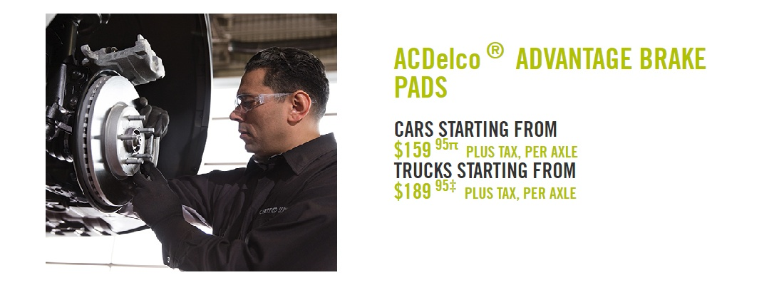 ACDelco Advantage Brake Pads Installed from $159.95 Per Axle