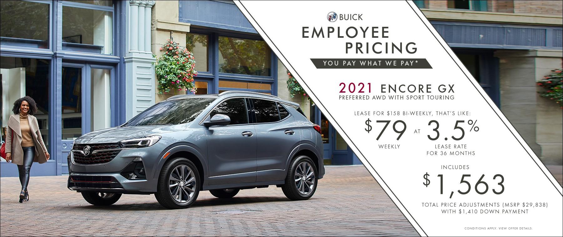 Employee Pricing – 2021 Encore GX Preferred AWD