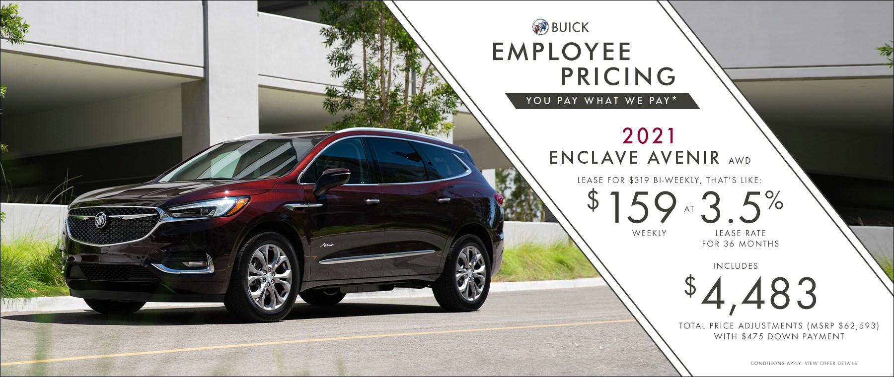 Employee Pricing – 2021 Enclave Avenir AWD