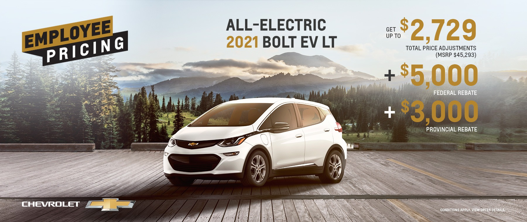 Employee Pricing – All-Electric 2021 Bolt EV LT