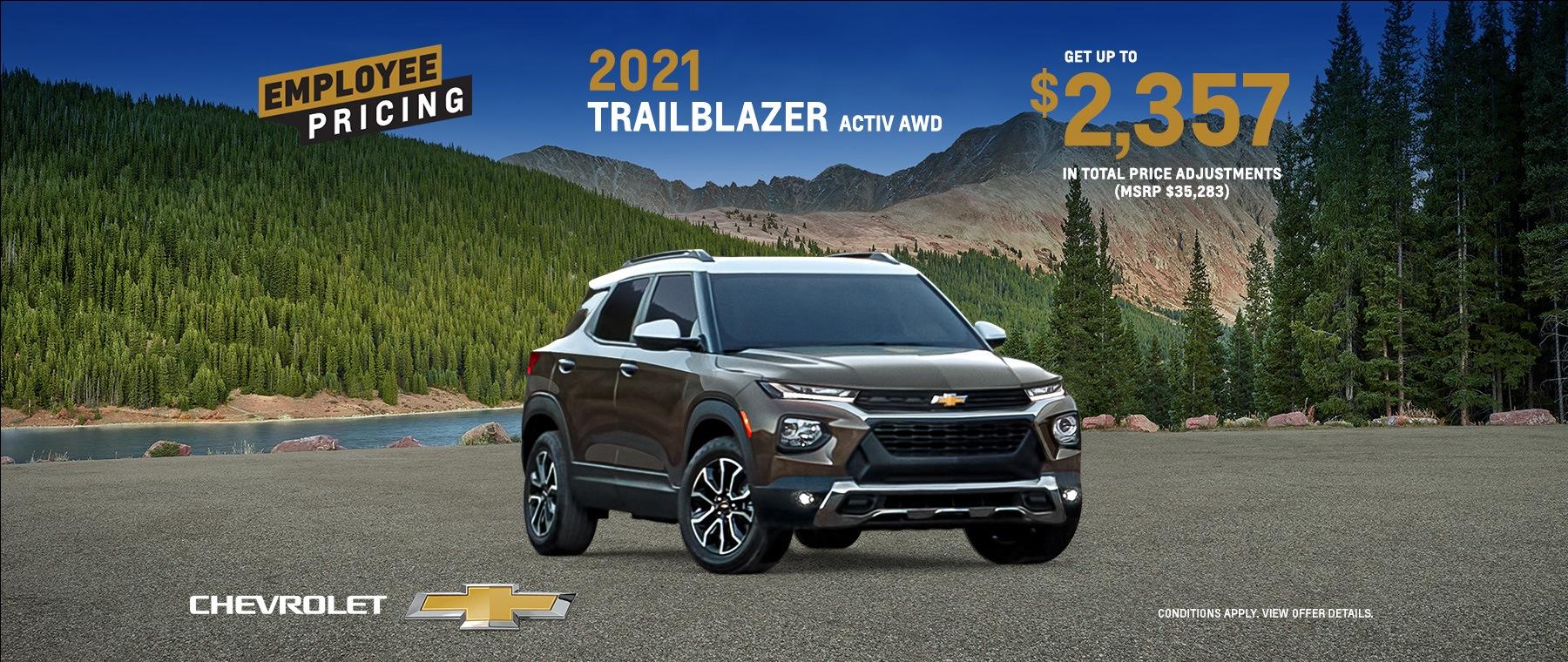 Employee Pricing – 2021 Chevrolet Trailblazer