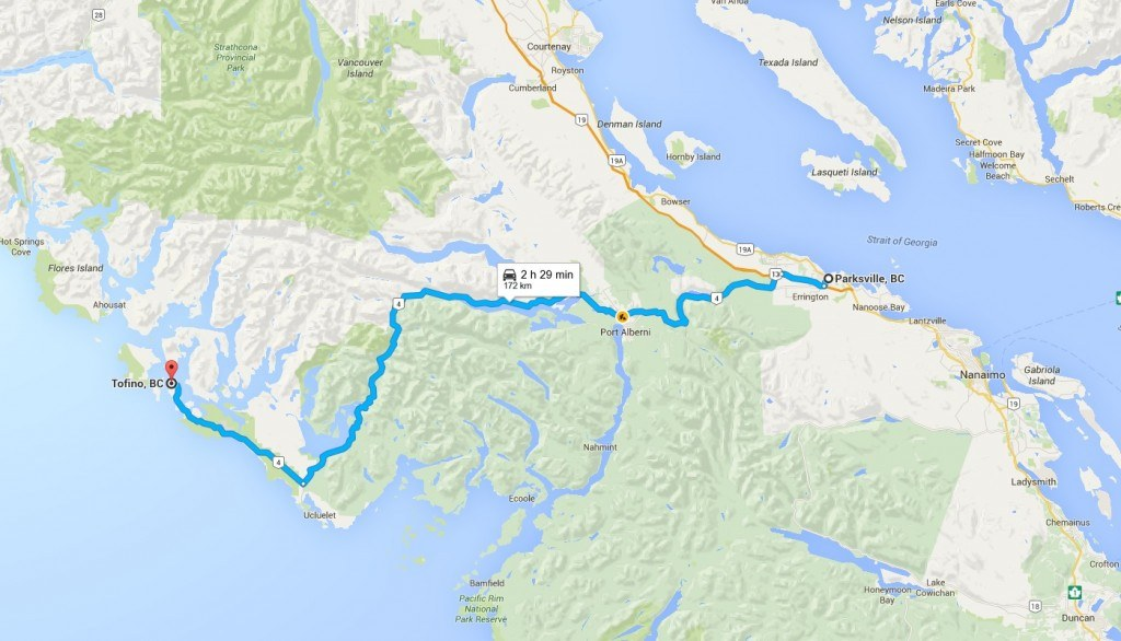 parksville to tofino