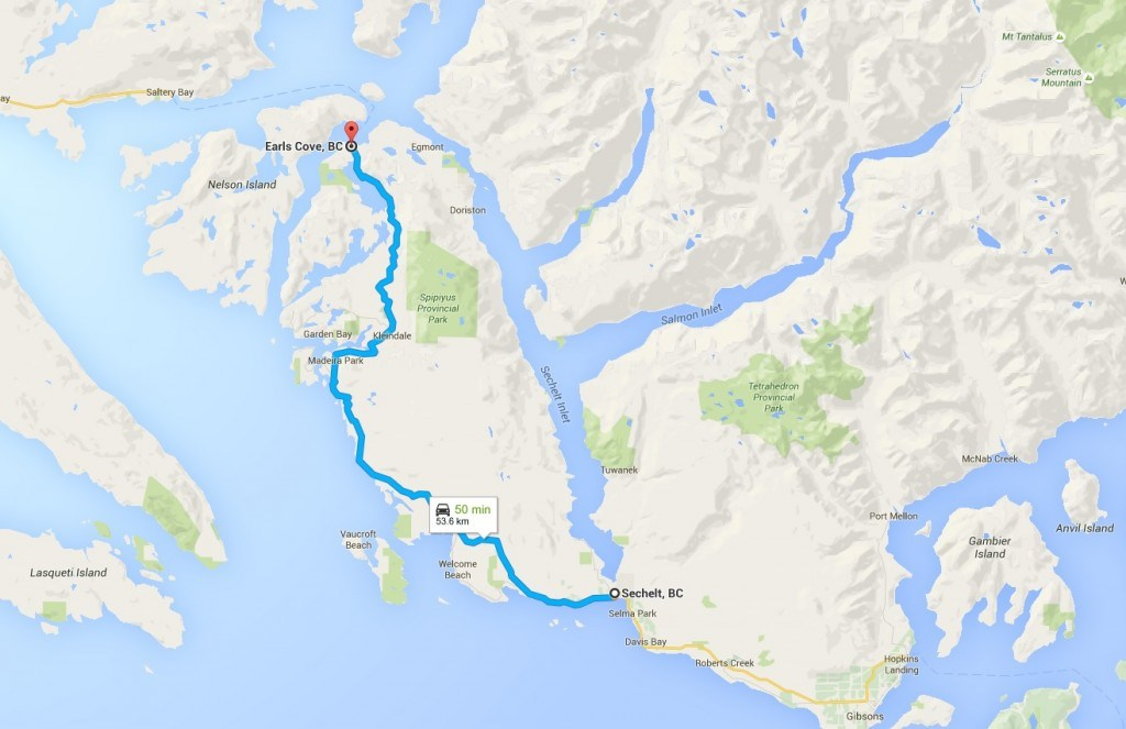 sechelt to earls cove